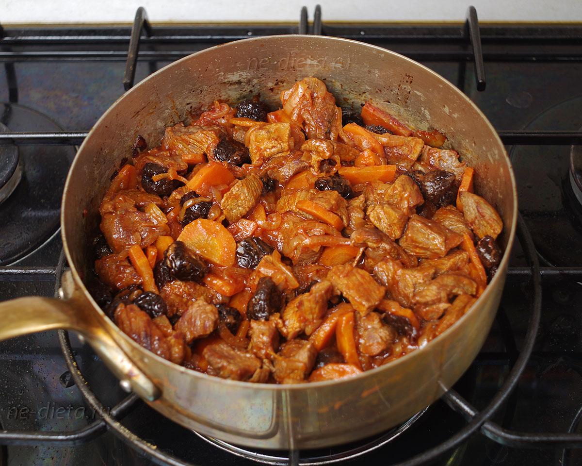 Пошаговый фото рецепт мяса с овощами