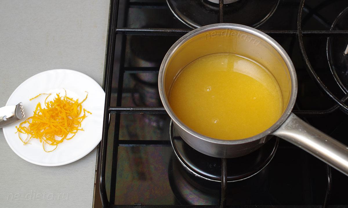 апельсиновый сок с сахаром довести до кипения