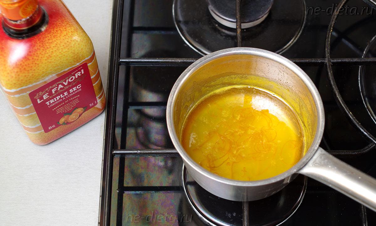 соус уварить и добавить апельсиновый ликер