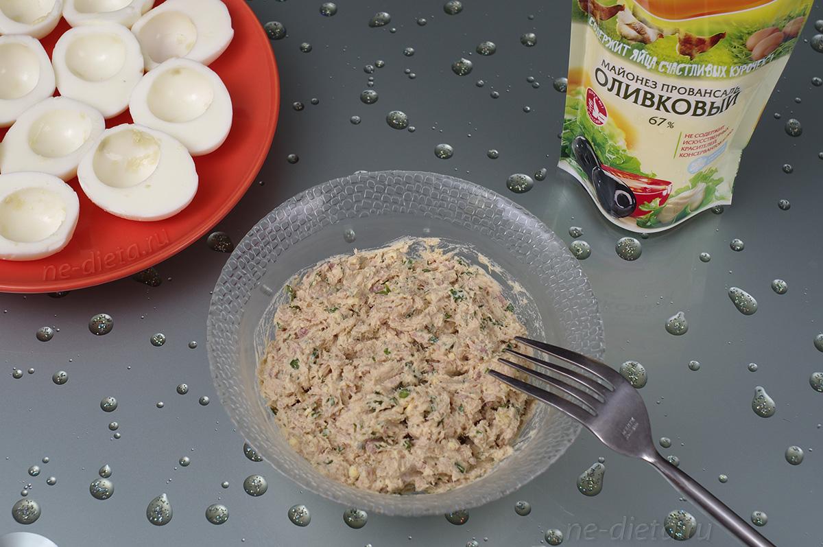 Начинка из тунца для фарширования яиц