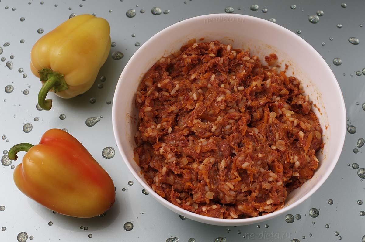 Начинка из мяса с рисом для фарширования перцев