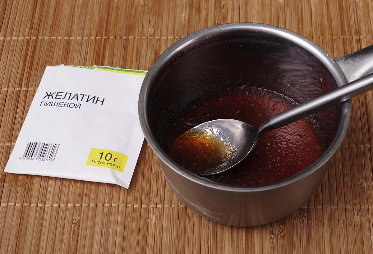 Желатин замочить в холодном чае
