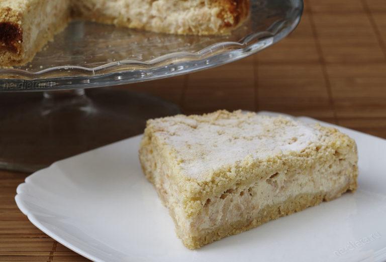 Насыпной пирог с творогом и яблоками