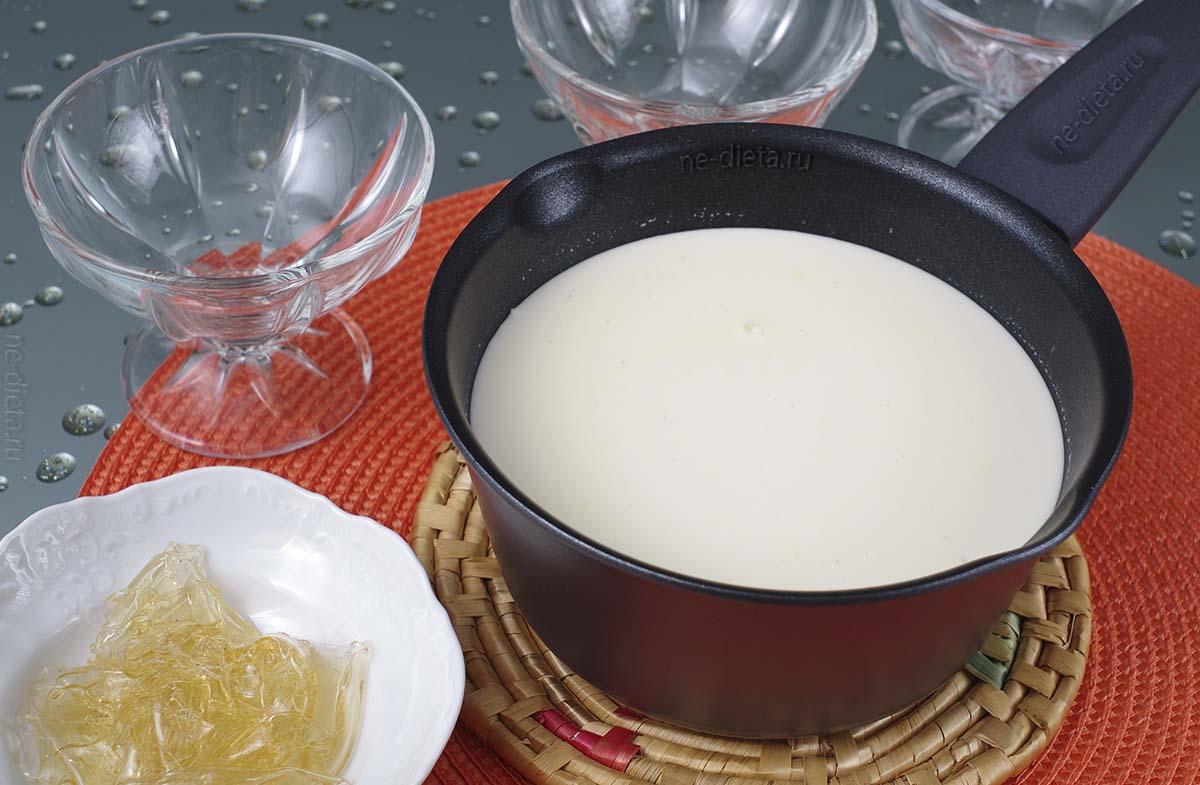 Растворить желатин в сливочной смеси