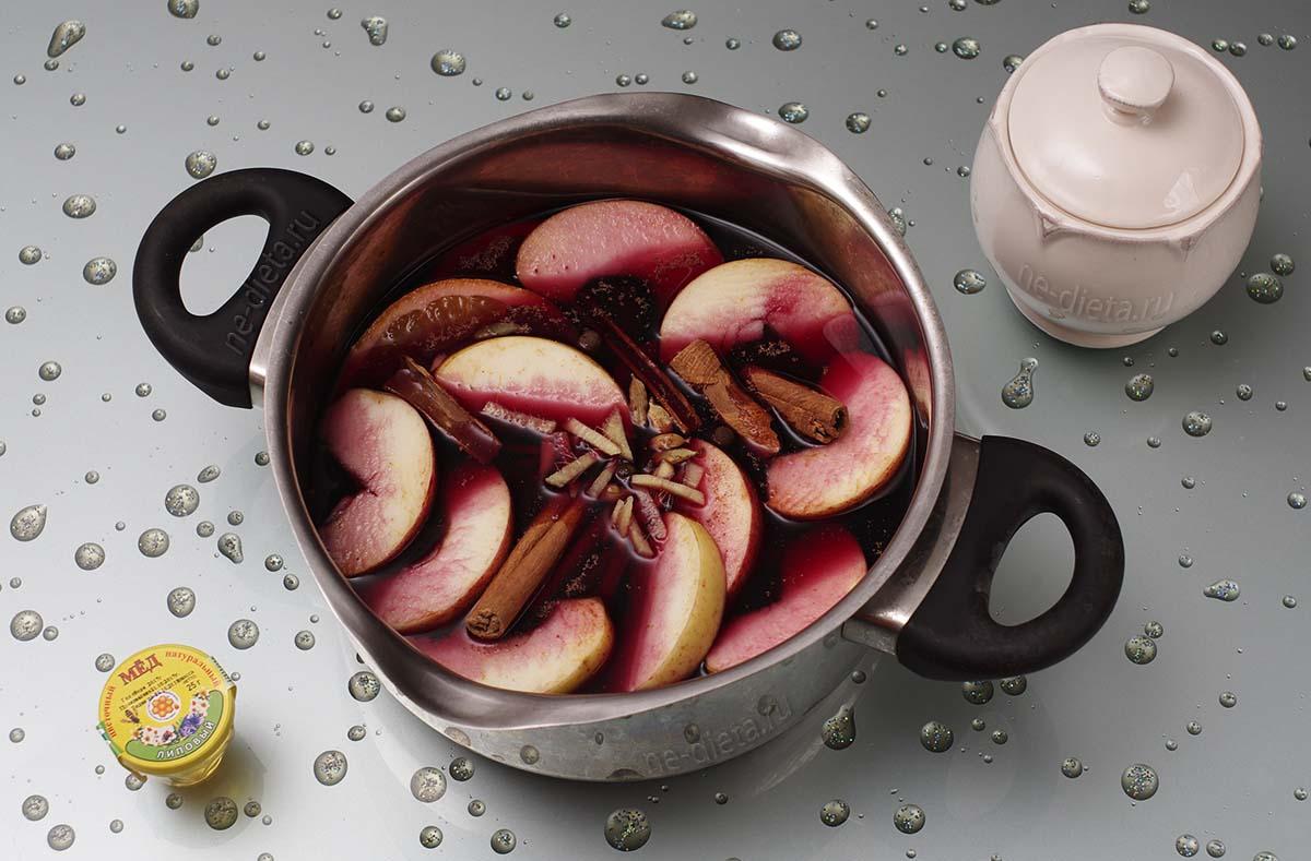 Положить в кастрюлю фрукты, сахар, мед и специи