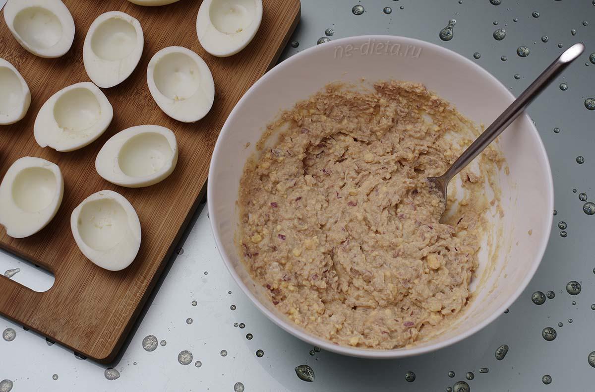 Начинка из печени трески для фарширования яиц