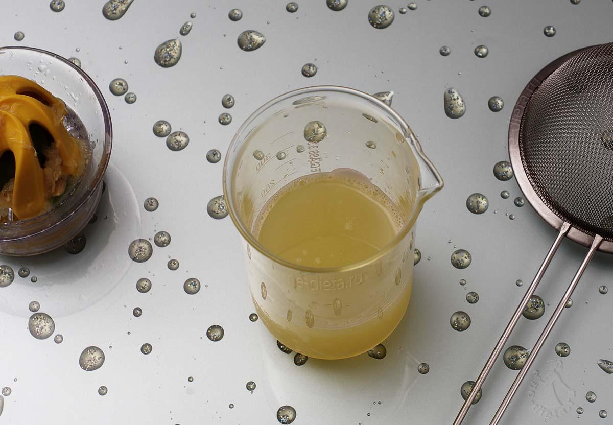 Выдавить из лимонов сок и процедить через сито