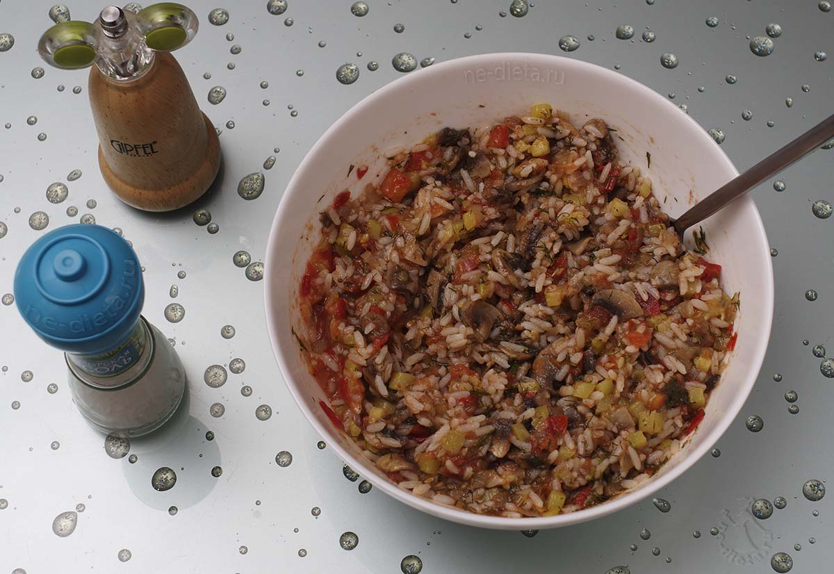 Начинка из риса и грибов для фарширования перцев