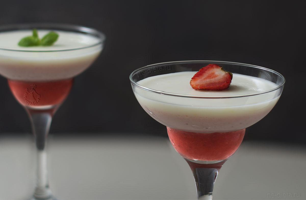 Трехслойный десерт с клубникой