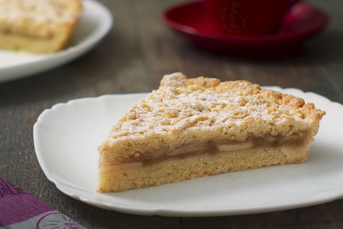 Песочный пирог с яблоками в духовке