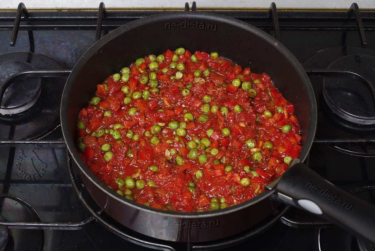 Добавить зеленый горошек