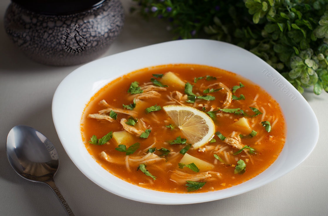 Суп с курицей и вермишелью и картошкой рецепт с томатной