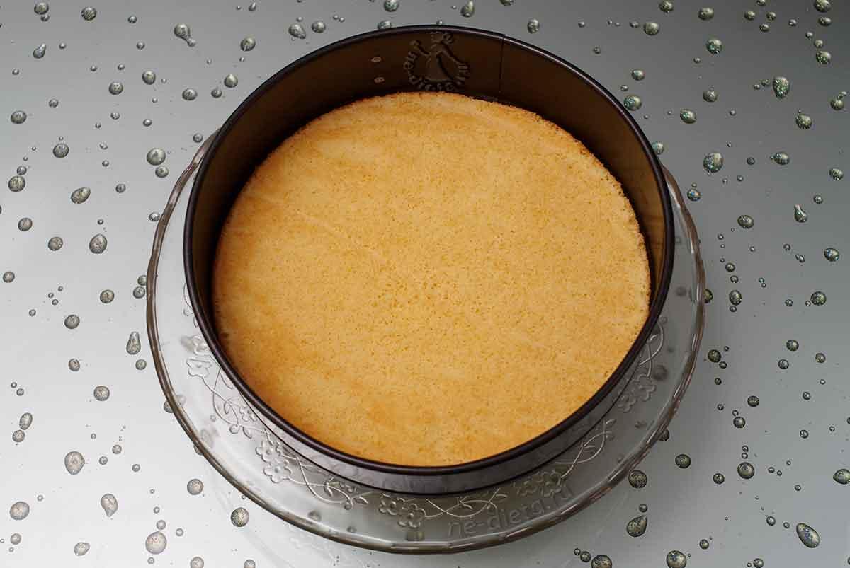 В разъемную форму положить бисквит