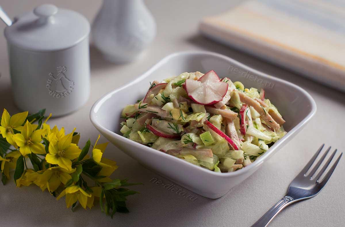 Салат с редисом и ветчиной