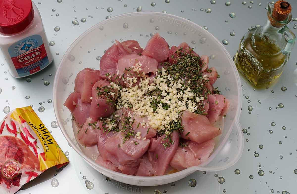 К мясу добавить лимонный сок, масло, чеснок, соль и все специи