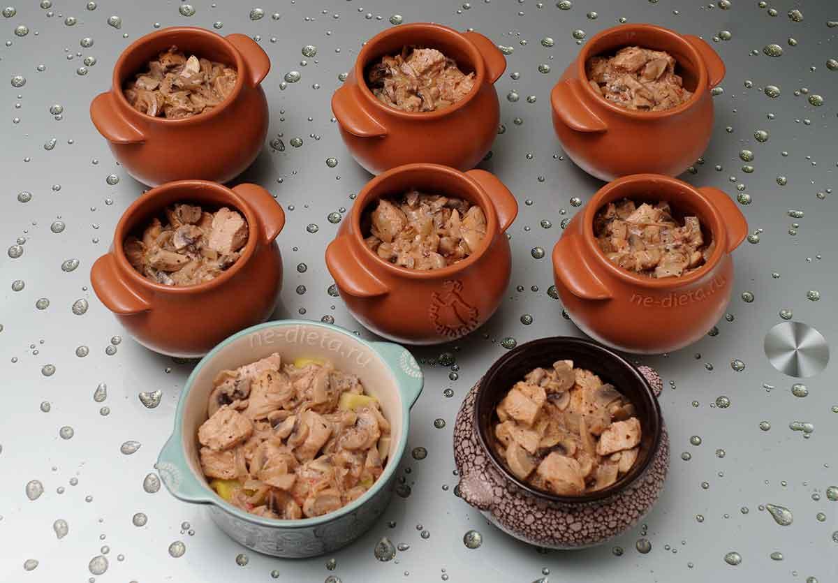 Мясо с грибами и луком разложить по горшочкам