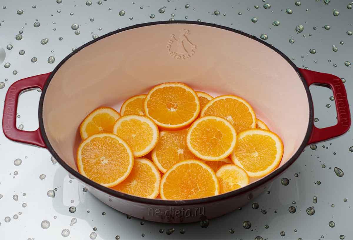 Апельсины выложить на дно утятницы