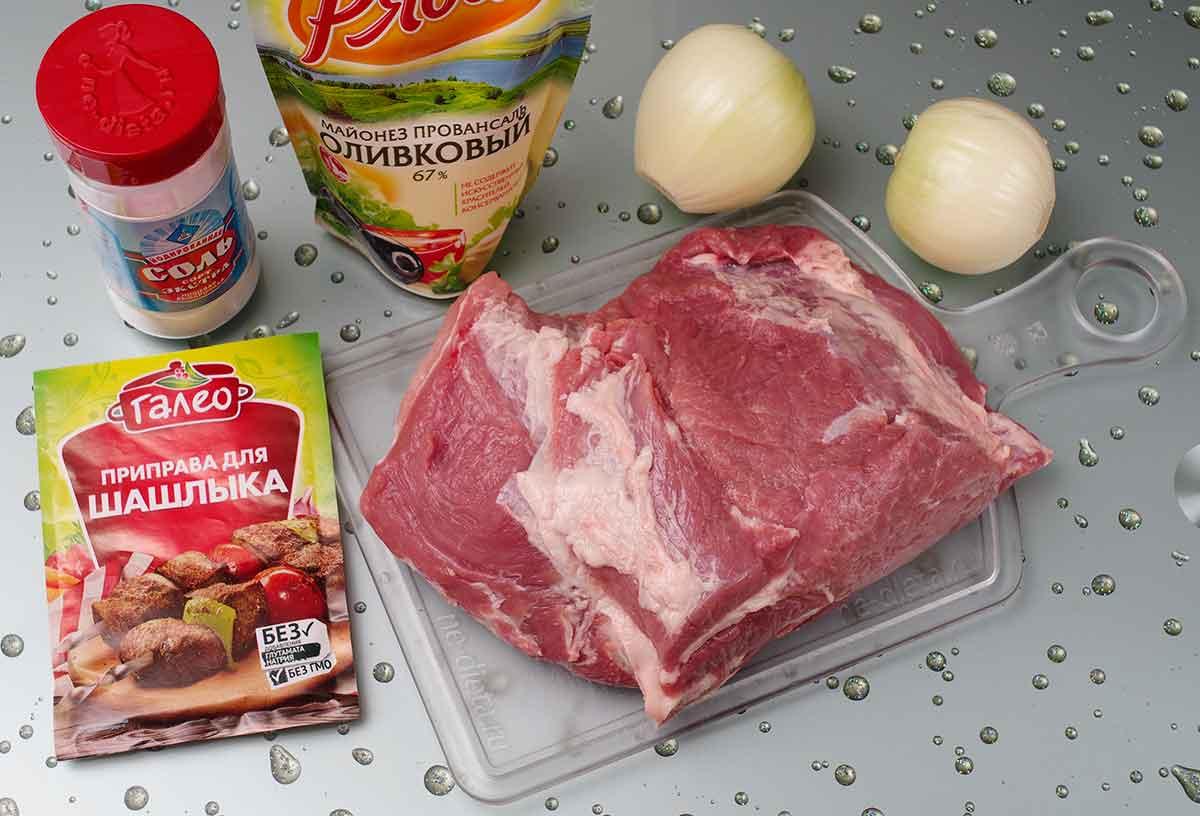 Ингредиенты для маринования шашлыка