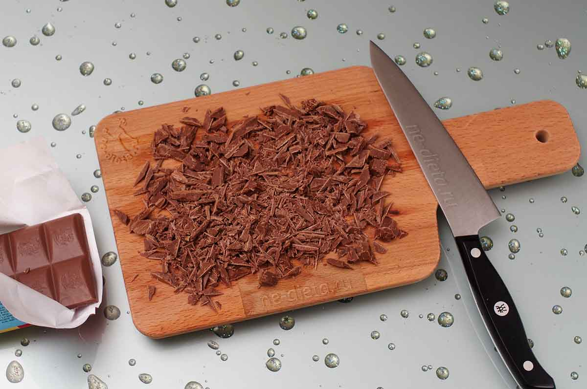 Шоколад порубить ножом
