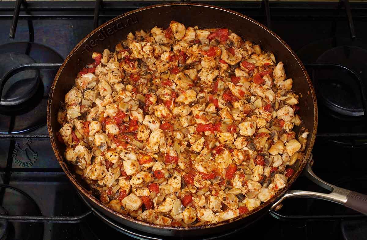 Начинка для лазаньи с курицей и грибами