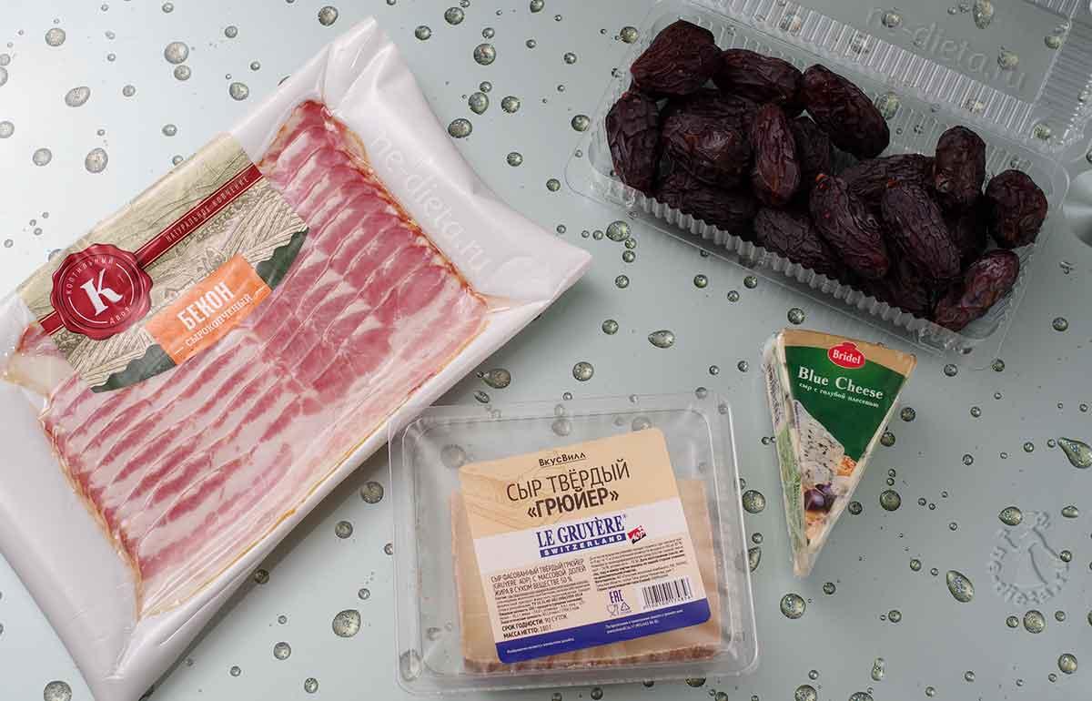 Ингредиенты для закуски из фиников, сыра и бекона
