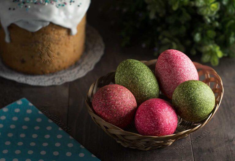 Окраска яиц на Пасху с помощью риса