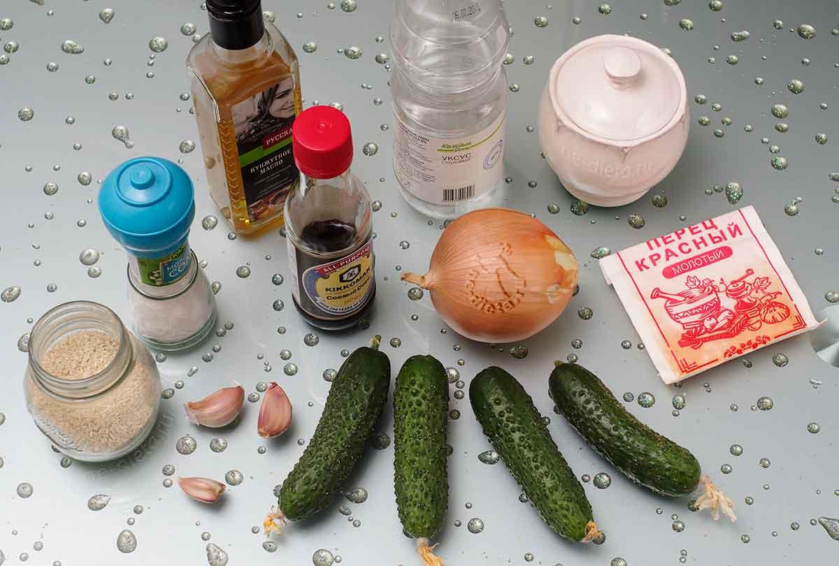 Ингредиенты для китайского салата из огурцов