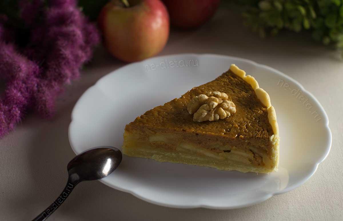 Пирог с яблоками и сгущенкой